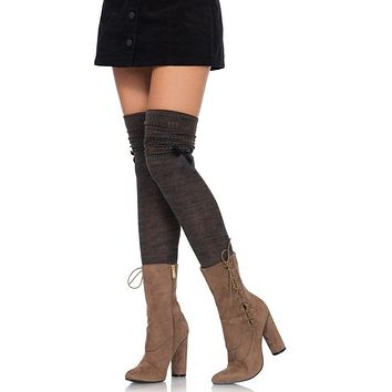 Standing Up Brown Olive Marled Bow Trim Over The Knee Scrunch Socks