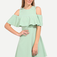 Mint Summer Green Half Sleeve Open Shoulder Ruffle Dress
