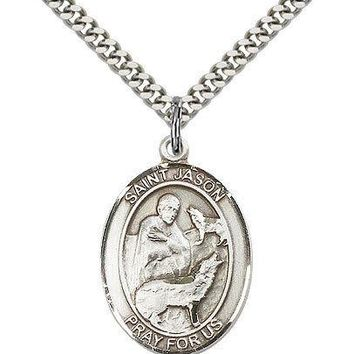 "Saint Jason Medal For Men - .925 Sterling Silver Necklace On 24"" Chain - 30 D... 617759464115"