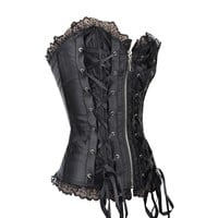 Black Zip Up Burlesque Corset