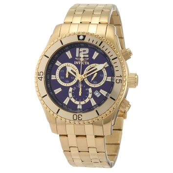 Invicta 0623 Men's Specialty II Sport Blue Dial Gold Plated Steel Bracelet Chronograph Watch