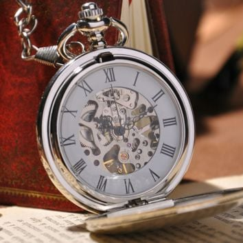 Elegant Silver Pocket Watch with Back Design