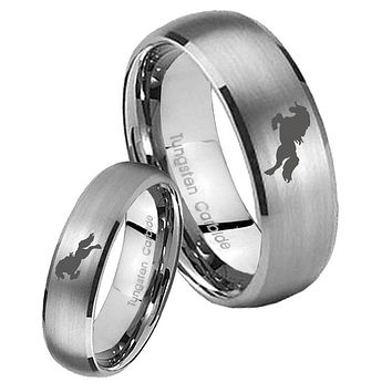 Bride and Groom Horse Dome Brushed Tungsten Carbide Mens Wedding Ring Set