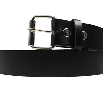 Black Leather Belt Strap, Mens Belt, Womens Belt, Extra Large Belt Strap,Interchangeable Snap Belt Strap With Silver Belt Buckle , Kids Belt