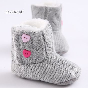 Winter Baby Snow Boots Warm Toddler Shoes Baby Girl Shoes Knitted Solid First Walker Infant Newborn Baby Shoes Footwear