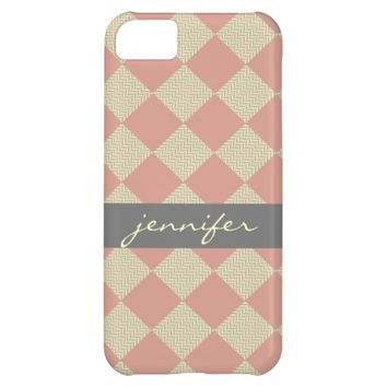 Chic quilt, pink & gray chevron, personalized cover for iPhone 5C