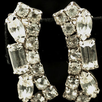 Clear Rhinestone Rectangular Clip Style Earrings - Round, Rectangle, Navette Rhinestones-Art Deco Silver Tone Vintage