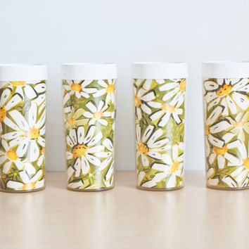 Vintage Daisy Patterned Westbend Thermo-Serv Tumblers, Mid Century Barware Juice Cups, Camping or RV