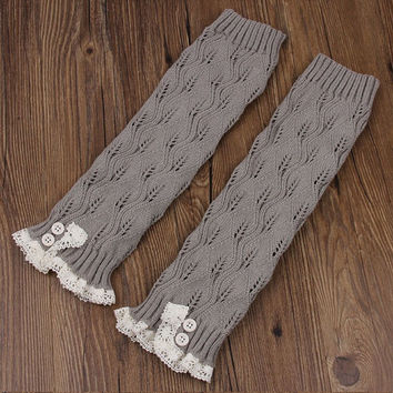 Ready to ship - Trendy Women's Light Grey Knit Button Lace Trim Leaf Leg Warmer- boot socks - Women Leg Warmers - Light Grey Leg Warmers