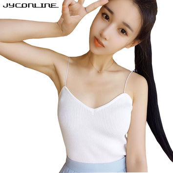 Women Sexy Crop Tops Vintage Knitted Top Cropped feminino Spaghetti Strap Camis Vest Women T-shirt Tanks Top Fitness Cropped Tee