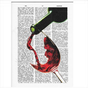 Vintage Dictionary Red Wine Dictionary Art Print