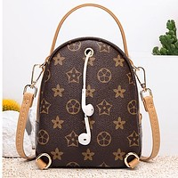 Monogram Mini Intimate headphone jack Bag Backpack Bag Handbag Shoulder bag School Bag Phone Bag (One package three ways to use)