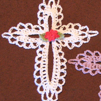 Small Lace Cross Crocheted Ornament or Bookmark