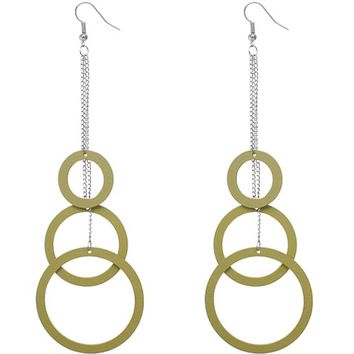 Green Wooden Cascade Drop Chain Hoop Earrings