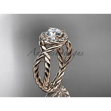 14kt rose gold rope halo diamond engagement ring RP8127