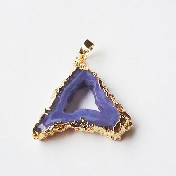 Layers Purple Druzy Edged in Gold Pendant, Purple Hollow Center Druzy Drusy Stone Pendant, Select With Or Without Chain