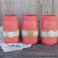 Mason Jars, Shabby Chic, Coral, Painted Mason Jars, Distressed, Burlap, Rustic, Country, Beach, Wedding Decor