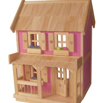 Wooden Doll House With 7 Piece Furniture From Jacobswoodentoys On