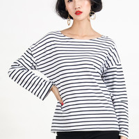 Monochrome Striped T-shirt With Drop Sleeve