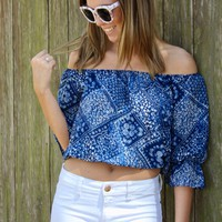 Blue Bandana Crop Top
