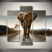 5 Pieces Multi Panel Modern Home Decor Framed Africa Elephant Animal Wall Canvas Art