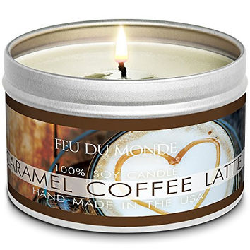 Premium Caramel Coffee Latte Natural Soy Wax Candle Travel Tin 8 Ounces