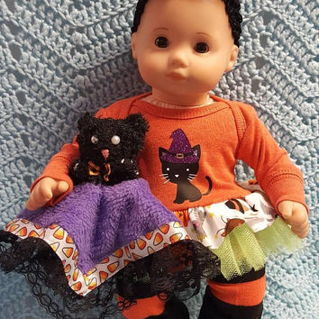 "15 inch Baby Doll Clothes ""Halloween Kitty"" doll outfit Will fit Bitty Baby® Bitty Twins® Halloween dress pants socks headband H3"