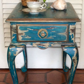 Shabby Chic Blue End Table Vintage 1940s