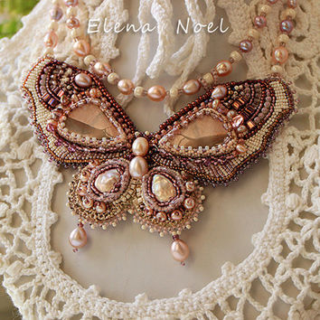 Beautiful bead embroidered necklace - Pearl Butterfly - bead embroidery art,  beadwork