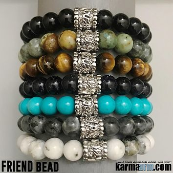 FRIENDSHIP: Multi Natural Gemstone | FRIEND Bead | Yoga Chakra Bracelet