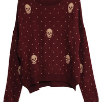 ROMWE | Skull Charm Wave Point Dark-red Cardigan, The Latest Street Fashion