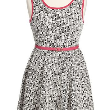 Girl's Pippa & Julie Geo Print Sleeveless Skater Dress,