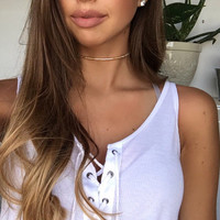 White and Gold Beaded Choker