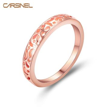 CARSINEL Crown Ring Engagement Wedding Imitation Rose Gold-color Ring For Women Female Titanium Antique Vintage Jewelry