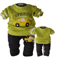 Kindstraum New Baby long sleeve clothing set Car cartoon print boys suits Spring t shirt + pants twinsets for infant, C348