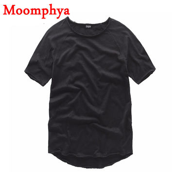 Street wear New Design Extended curve hem t shirt Men Stylish no sewing rough curved hem tee t shirt
