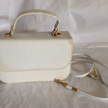 Vintage Retro White Patent Leather Purse Mod 1950's 1960's Fashion Box Purse