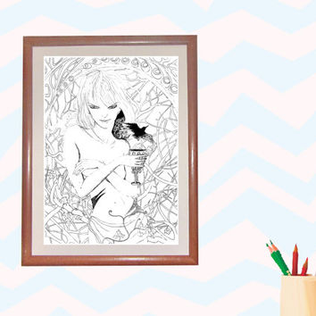 Coloring activity - naked girl with goblet in the forest, Printable