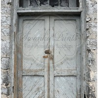 Gray Rustic Door / Vinyl Photography Backdrop