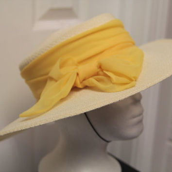 1972 vintage Betmar sun hat with yellow ribbon