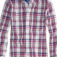 AEO Men's Plaid Button Down (White)