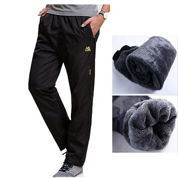New Winter Fleece Thick Pants Men's Outside Casual Heavyweight Zipper Pants Men Warm Straight Waterproof Fit Sweatpants Trousers