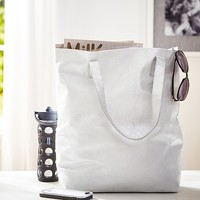 Silver Luxe Metallic Leather Tote