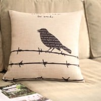 Diaidi Tumblr Linen Little Bird Throw Pillow Sofa Cushion Black Bird Letter Print Throw Pillow Fashion Pillow Square Pillow 1pc