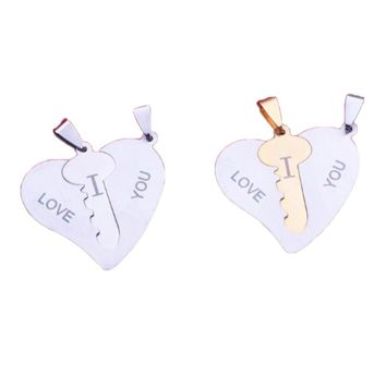 f5683cb75b 2017 Korean Couple Necklaces Set Pendant Necklace Engrave I Love