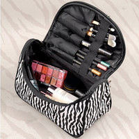 2016 Fashion Women Toiletry Bag Women Makeup Bag Cosmetic Organizer Pouch Bag Storage Bag Zebra Strips neceser para mujer