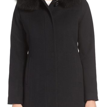 Sachi Wool Blend Coat with Genuine Fox Fur Trim (Regular & Petite) | Nordstrom