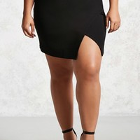 Plus Size Asymmetrical Hem Skirt