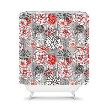 Floral SHOWER CURTAIN, Red Black Gray, Flower Petals, Custom MONOGRAM Personalized, Floral Bathroom Decor, Bath Towel, Plush Bath Mat