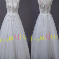 High neckline wedding dress/lace embroidery wedding dress/white long prom dress/modern wedding dresses/see through sweetheart wedding gown